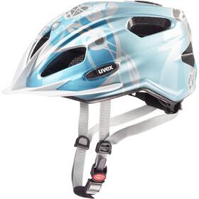 UVEX Quatro - Casco de bicicleta Niños - Plateado/Azul petróleo